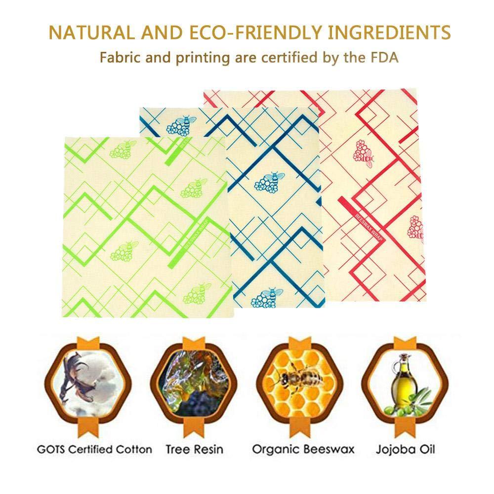 sin residuos de Cera biodegradables TEEPAO no Son de pl/ástico Juego de 3 envolturas de Cera de Abeja org/ánica Reutilizables para Envolver Alimentos respetuosas con el Medio Ambiente