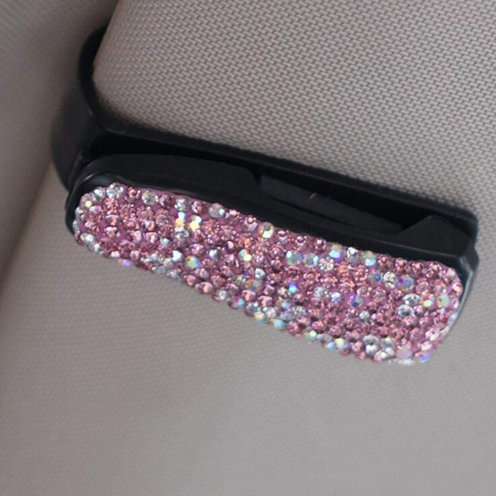 Eternitry Car Sunroof Visor Sunglasses Clip Holder Rhinestone Shining Crystal Glasses Bill Clamp Card ticket Accessories for Girls Women Lady