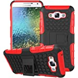 Heartly Flip Kick Stand Spider Hard Dual Rugged Armor Hybrid Bumper Back Case Cover For Samsung Galaxy E7 SM-E700F Dual Sim - Hot Red