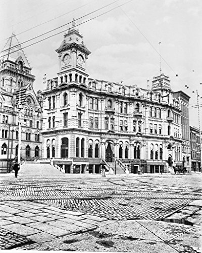 Restored 16x20 Black & White Photo - Historic Syracuse, New York - Old Onondaga County Savings Bank, c1895 (New York Of Syracuse America Bank)