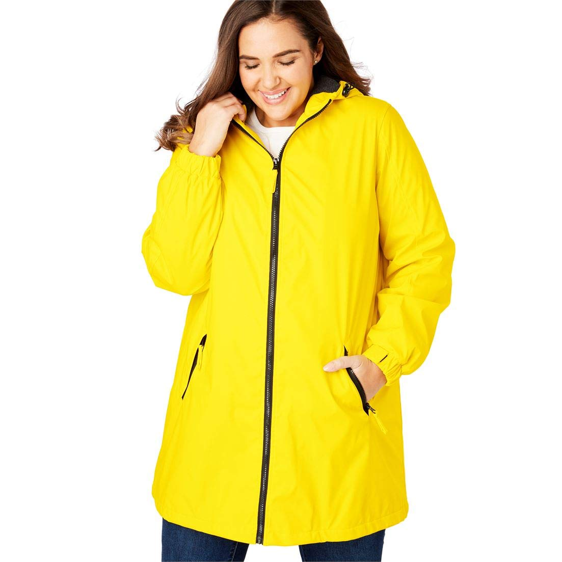 db4b9985b9c Amazon.com  Woman Within Plus Size Hooded Slicker Raincoat  Clothing