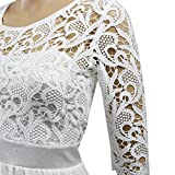 Women Crochet Half Sleeve Crochet Lace Top Wedding Bridesmaid Gown Prom Dress