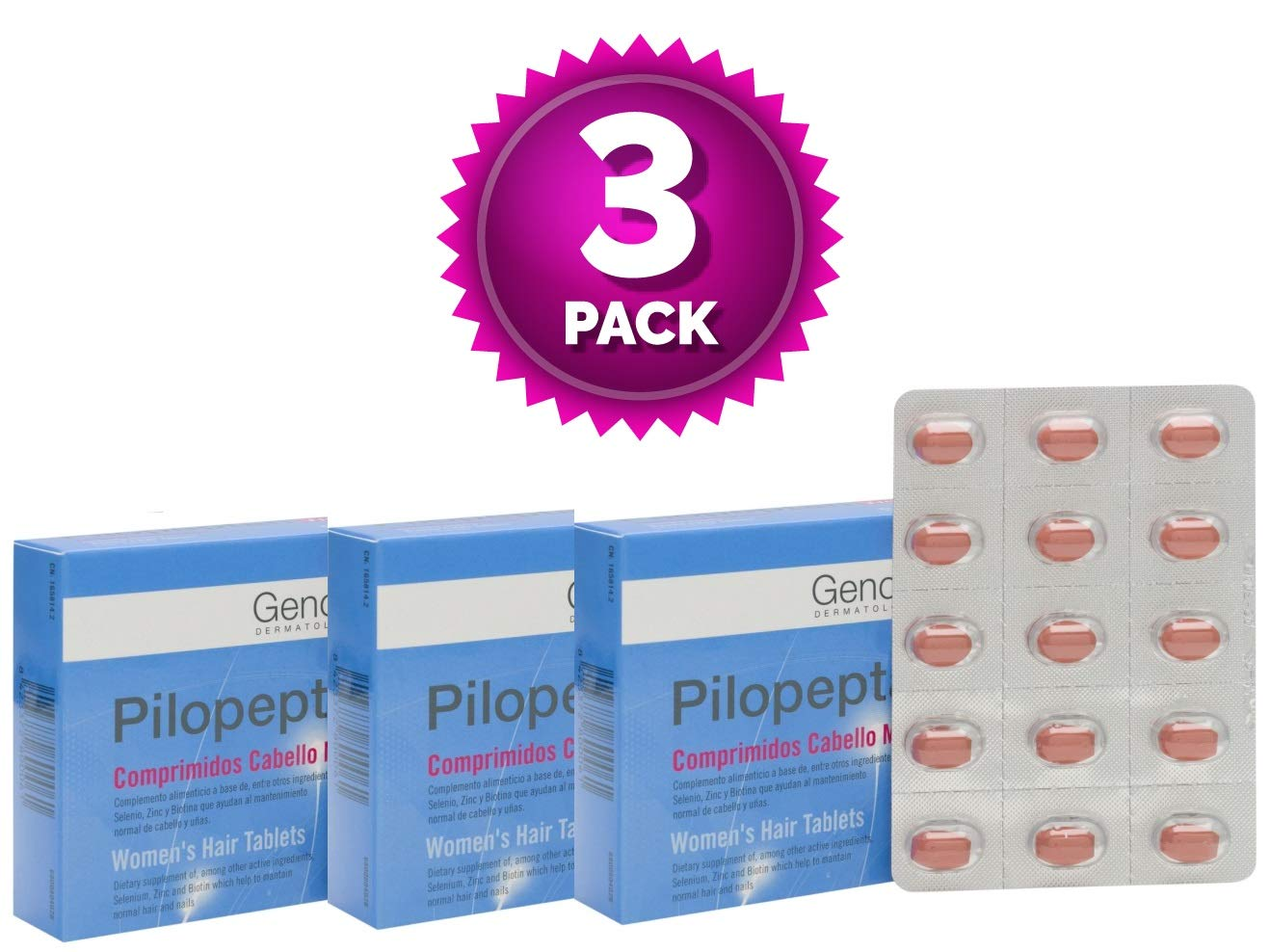 Amazon.com : 3 Pack Genové Pilopeptan For Woman 30 x 3 (90 Tablets) - Hair Regrowth Treatment - Stop Hair Loss - Nail and Hair Treatment : Beauty