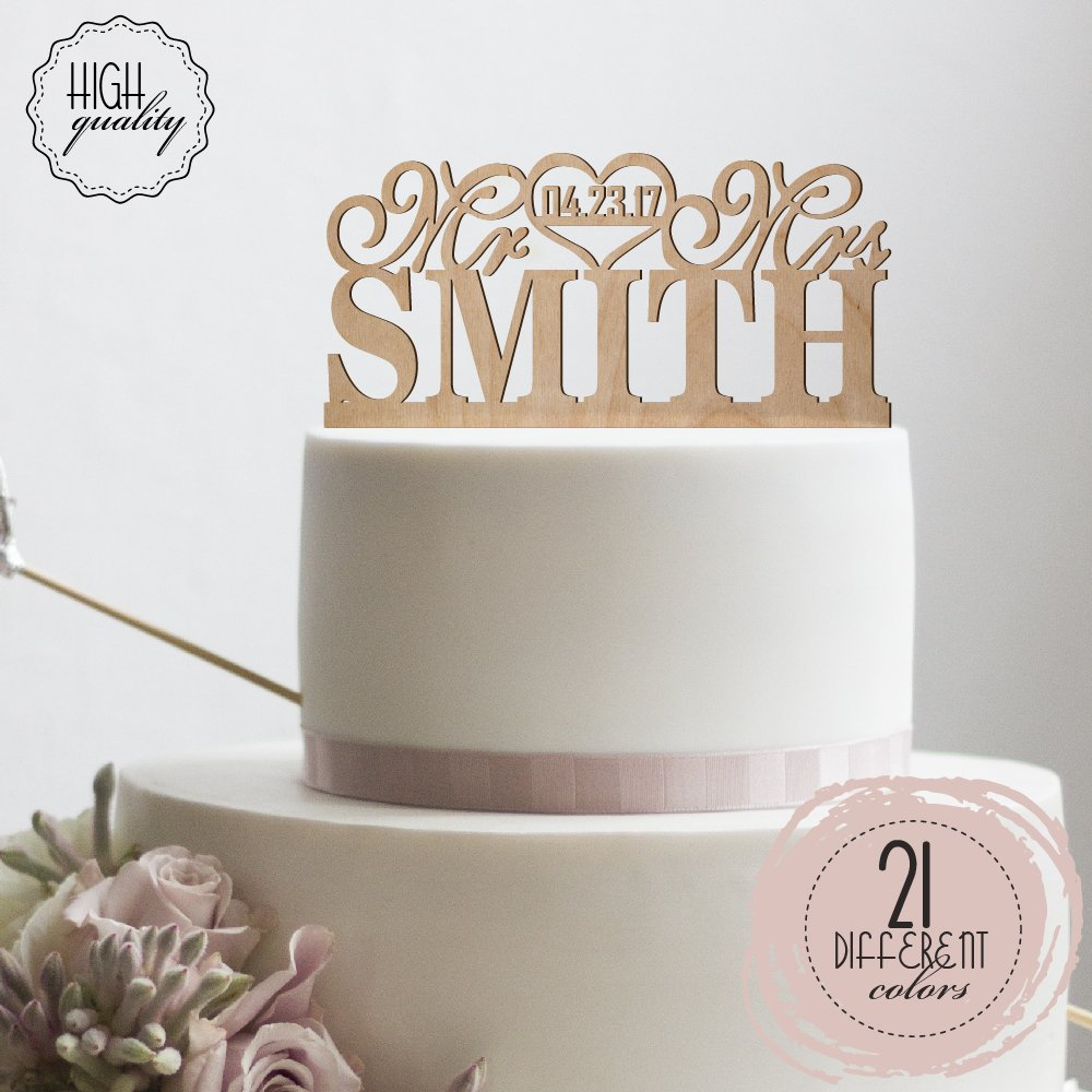 Mr Heart Mrs Personalized Wedding Cake Topper Customized Cake Topper Wedding Date Last Name To Be | Wooden Cake Toppers by Sugar Yeti (Image #1)