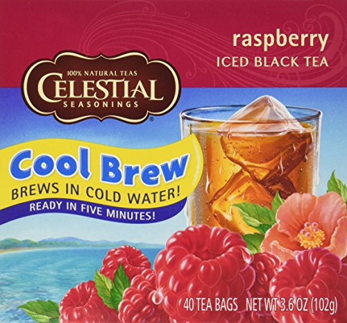 Tea Bags Raspberry - Celestial Seasonings Raspberry Cool Brew Iced Black Tea, 40 Tea Bags