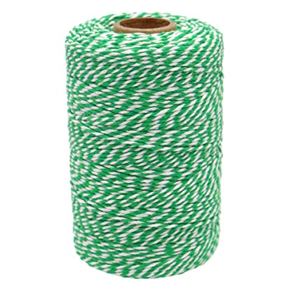 Craft Bakers Cordel de 200 m de hilo de algod/ón duradero manualidades y artesan/ías hechas a mano perfecto para hornear carniceros color Green and White