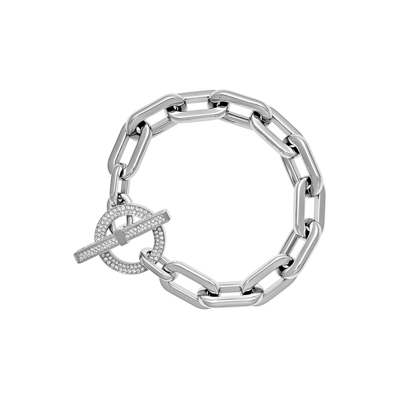b1b7a0990bcdb Michael Kors MKJ4864 040 Cityscape Silver Tone Chain Link Pave Toggle  Bracelet