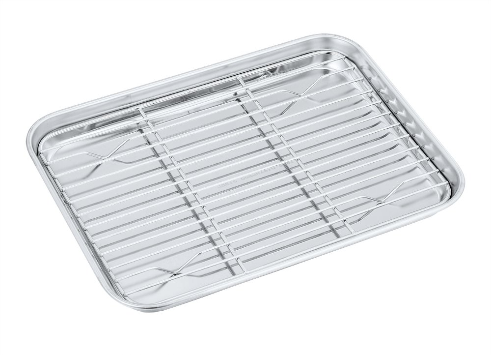 P&P CHEF Toaster Oven Pan with Rack Set, Stainless Steel Broiler Pan with Cooling Rack, Mini Rectangle 9''x 7''x1'', Non Toxic & Heavy Duty, Mirror Finish & Dishwasher Safe