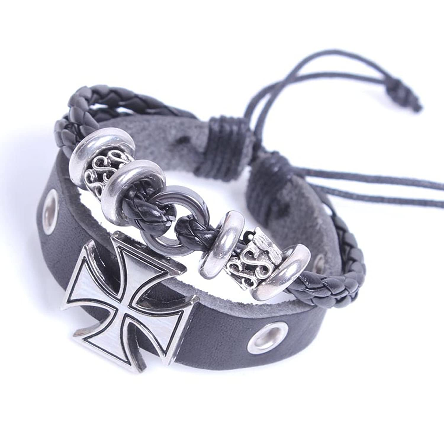 Europe-style Fashionable Cross Religious Leather Bracelet Adjustable Cuff Charm Bangle