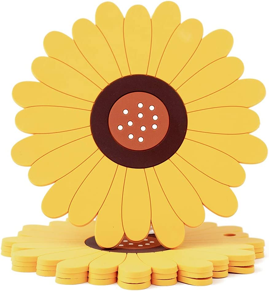 Sunflower Silicone Coasters for Drinks 4 Pack, Non-slip Suction Cup, Heat Insulation, Protect the Wooden Table from Scratches(Yellow, Small 4pcs)