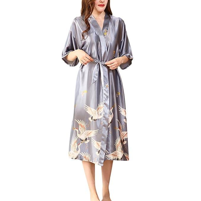 Zhhlinyuan Mujeres Satén Largo Ropa de dormir Kimono camisones para Mujer Satinado bata de noche ropa de noche ropa de casa: Amazon.es: Ropa y accesorios