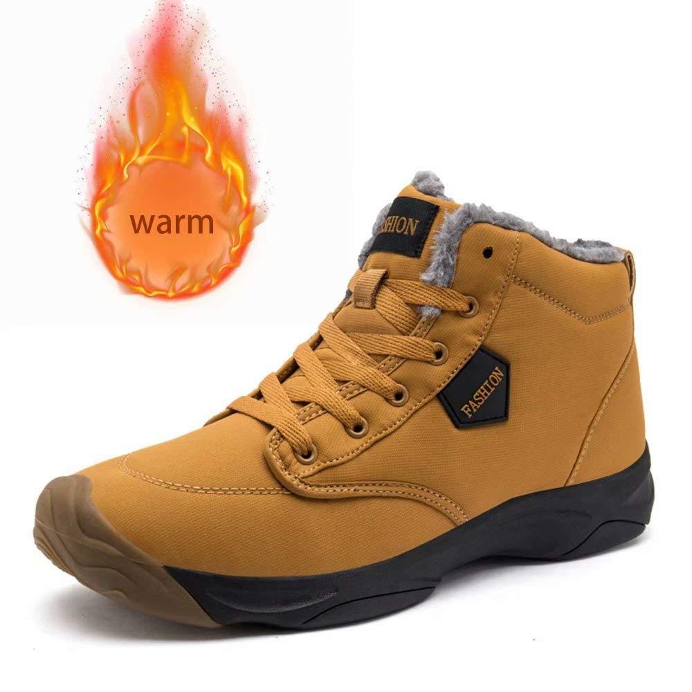 KARKEIN Men\'s Snow Boots Waterproof Fur Lined Warm Booties Non-Slip Winter Shoes Outdoor Slip On Booties