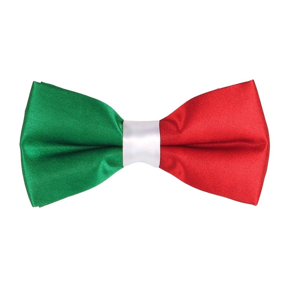 Noeud Papillon Drapeau Italien - Drapeau Italie, Vert, Blanc, Rouge, Taille unique