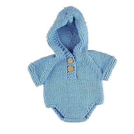 TININNA Body para bebé Pelele de Disfraz de sesión de Fotos Hecho a Mano de Punto suéteres Baby suéteres para bebé Niños y Niñas Azul Azul Claro: Amazon.es: ...