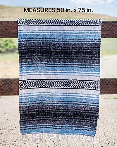 Mexican Blanket, Falsa Blanket   Authentic Hand Woven Blanket, Serape, Yoga Blanket   Perfect Beach Blanket, Navajo Blanket, Camping Blanket, Picnic Blanket, Saddle Blanket, Car Blanket (Sky Blue)