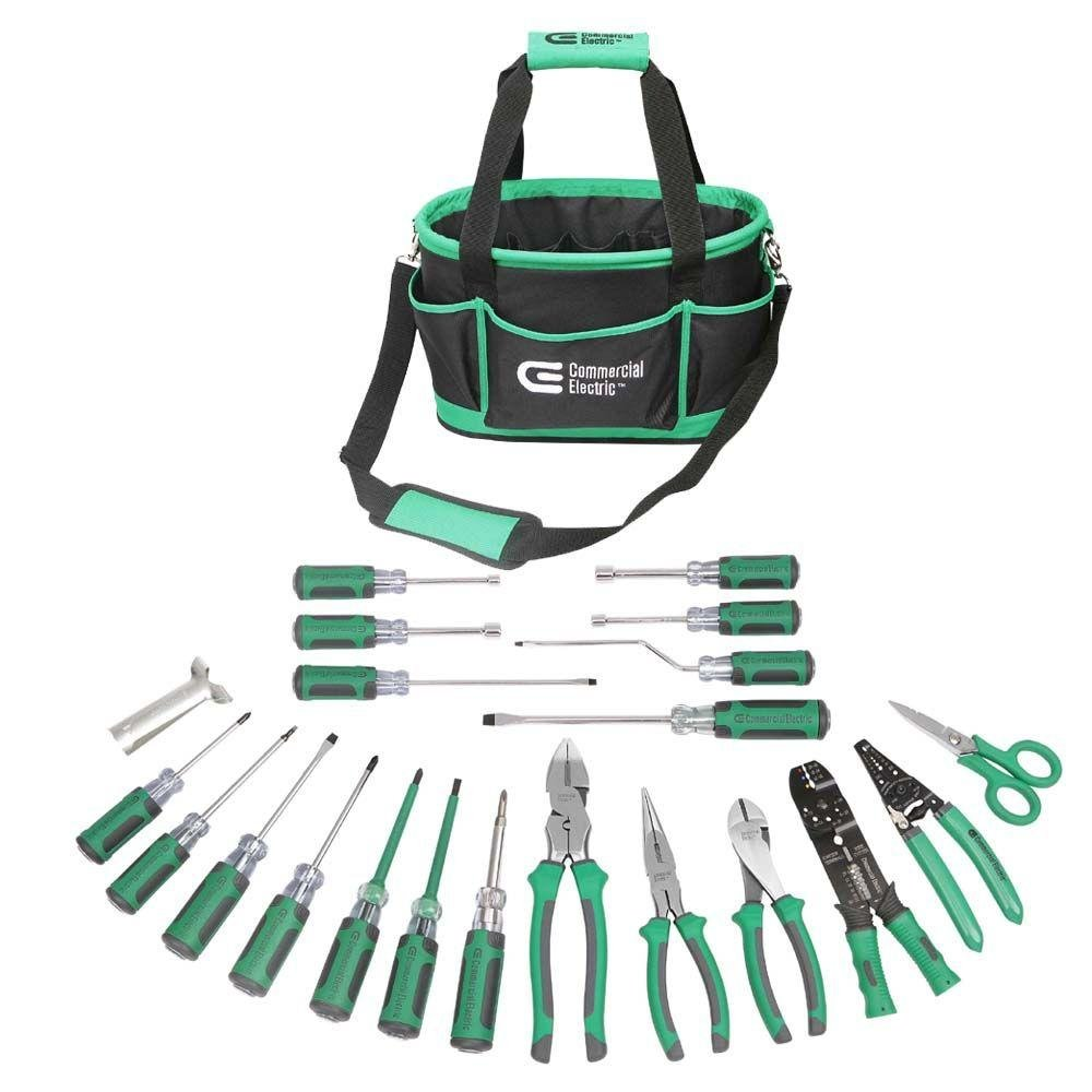 Commercial Electric 22 Piece Tool Electrician Set Tools Pliers Kit Wire ET07001 Bundle With Electrical Test 3 1 2 In