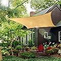 Rectangle Sun Shade Sail Canopy, 8' x 10' Patio Shade Cloth Outdoor Cover - UV Block Sunshade Fabric Awning Shelter for Pergola Backyard Garden Carport (Sand)