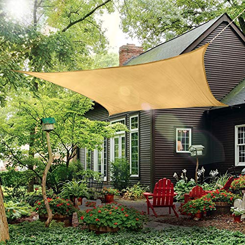 - Outdoor Sun Shade Sail Canopy, 10' x 14' Rectangle Shade Cloth Patios Cover - UV Block Sunshade Fabric Awning Shelter for Pergola Backyard Garden Lawn (Sand)