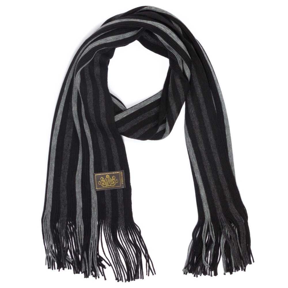 Rio Terra Men's Knitted Scarf, Designer Scarves for Winter Fall Fashion, Silver & Grey by Rio Terra (Image #4)