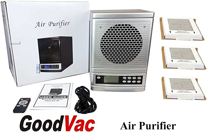 Aire fresco 7 etapa purificador de aire HEPA UV de iones de carbono filtro de aire incluye 3 platos de ozono: Amazon.es: Hogar