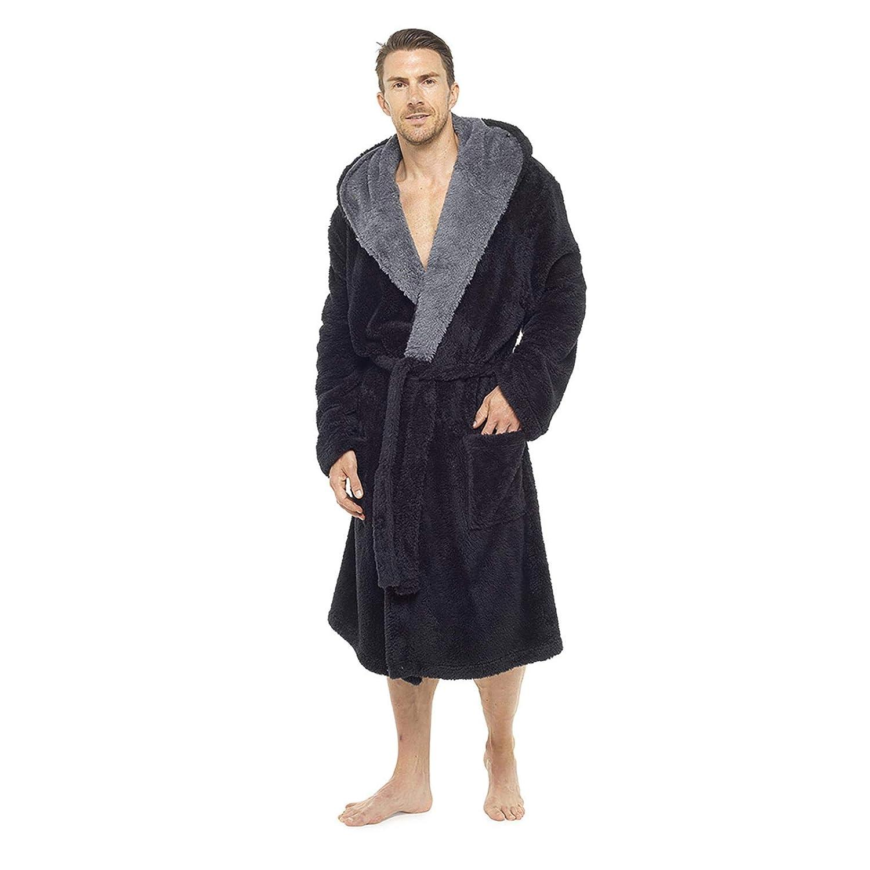 Foxbury Mens Supersoft Hooded Shaggy Fleece Bathrobe Dressing Gown Black House Coat Lounge Robe Black Grey RJM International