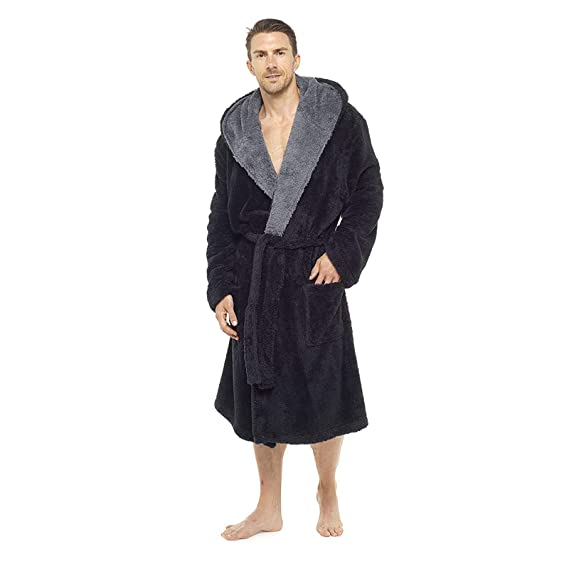 Foxbury Mens Supersoft Hooded Shaggy Fleece Bathrobe Dressing Gown Black House  Coat Lounge Robe Black Grey  Amazon.co.uk  Clothing d182e2b21