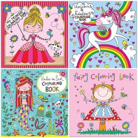 Set of 4 Colouring Books for Girls by Rachel Ellen Designs - Unicorn, Fairy, Princess & Under the Sea