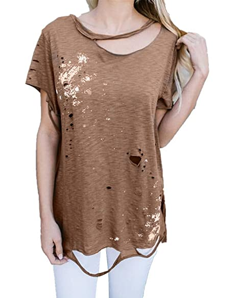 e762db0ee62 Amazon.com  Pxmoda Womens s Cut Out Ripped T Shirt Flowy Hip Hop T-Shirt  Tops  Clothing