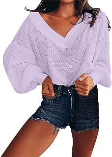 Rovinci Femmes Décontractée Couleur Unie Col en V Pull Tricoté Manches Longues Lanter Mode Sauvage Pullover Chemisier Tops