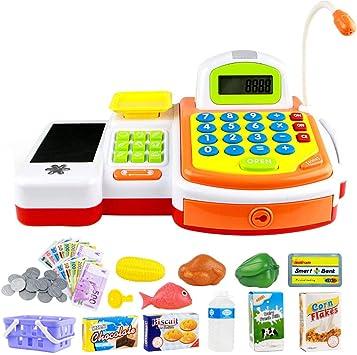 Toyvian Toy Caja registradora Simulación Caja registradora Set Jugar con Juguetes sin batería para niños: Amazon.es: Juguetes y juegos