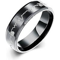 ORA心電図指輪ステンレス不規則カーブチタン リング人気激安可愛 シンプル黒い(15号,16号,18号,20号,23号, 25号,27号)