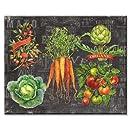 CounterArt Chalkboard Veggies Glass Cutting Board, 15 x 12 Inches