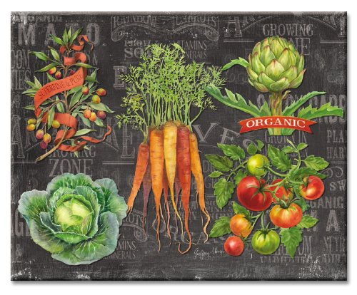 CounterArt Chalkboard Veggies Glass Cutting Board, 15 x 12 I