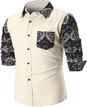 Camisa manga larga Sartoriale Casual Elegante Fashion coreano Camisa con button-down Camisa Polo para hombre manga larga de hombre con Personalit ¨ ¤ flor Stampare Blanca (M-XXL) Moda 2018, blanco: Amazon.es: Bricolaje