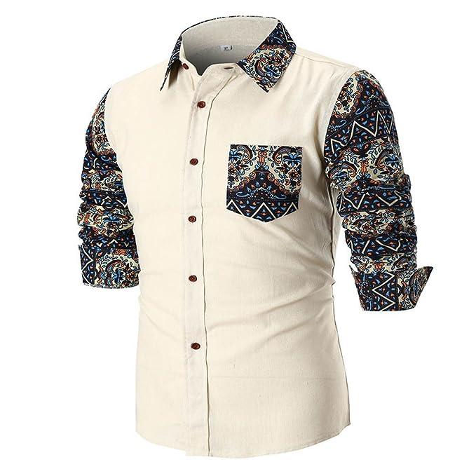 YanHoo Blusa Superior de la Camisa de Manga Larga Delgada Ocasional del Verano de los Hombres de la Personalidad Colores Diversos: Amazon.es: Ropa y ...
