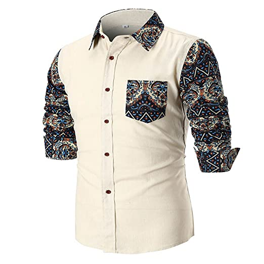 e13868378ea Amazon.com  CieKen Men s Button Down Printed Long Sleeve Shirts ...