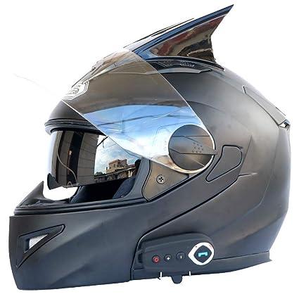Motocicleta Bluetooth Casco Lente Doble Casco Abierto Cara Casco Integral con Cuernos Lente Antivaho Calidad De
