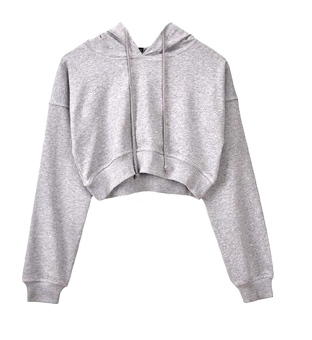 Blyent Womens Cropped Top Hoodie Loose Pullover Solid Short Sweatshirts