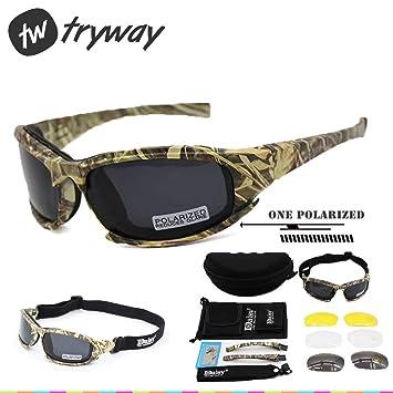 Gafas de sol tácticas polarizadas 4LS para hombre, resistente a impactos de airsoft, ahumadas, para ciclismo o motociclismo, Camouflage polarized: ...