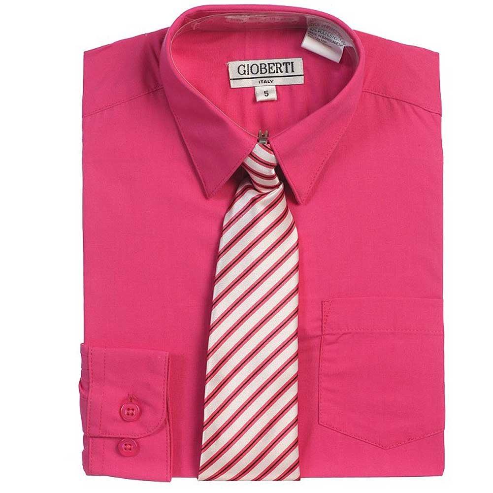 Fuchsia Button Up Dress Shirt Gray Striped Tie Set Toddler Boys 2T