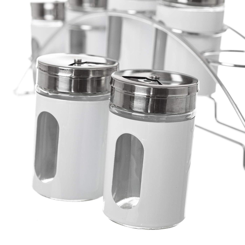 LOLAhome Especiero de 6 Piezas Moderno Blanco de Cristal para Cocina Basic
