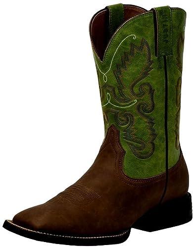 3e8768c89e4 Justin Men's Farm And Ranch Synthetic Cowboy Boot Square Toe Bay Apache