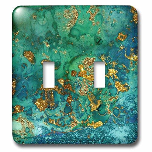 3dRose Uta Naumann Faux Glitter Pattern - Art print of Green Indigo Gold Marble Agate Mineral Malachite Quartz - Light Switch Covers - double toggle switch (lsp_275046_2)