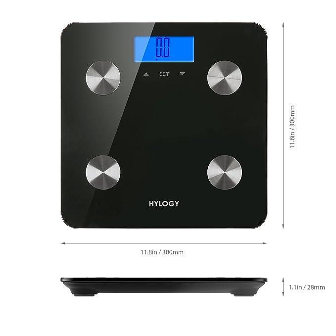 Báscula de análisis corporal, hylogy báscula de baño digital de grasa corporal, con tecnología de reconocimiento automático, medición peso, grasa corporal, ...