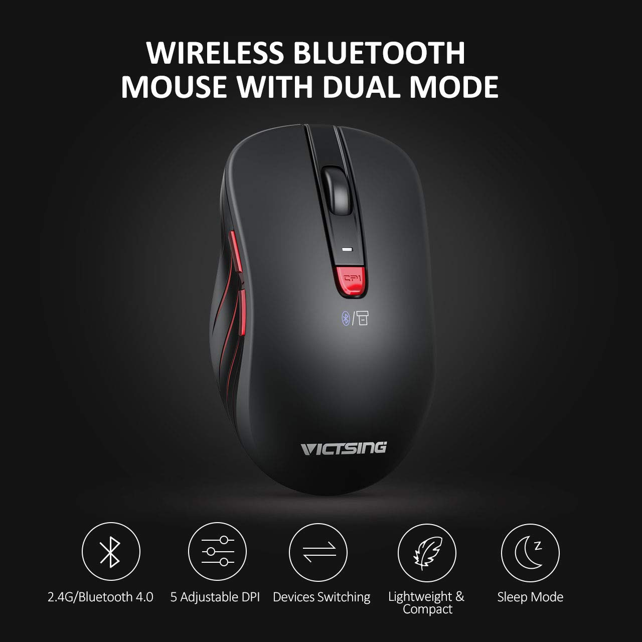 VicTsing Bluetooth Mouse Portable Ergonomic Wireless Mouse