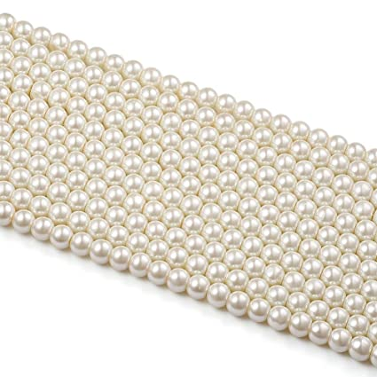 e16846e88e802 Generic 8 mm 200 pcs Glass Pearl Beads(2 Strands) Ivory White Color for DIY  Jewelry Making Crafts Projects (8mm)