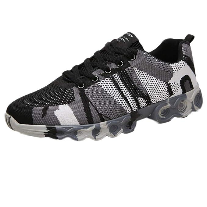beautyjourney Zapatillas de Camuflaje para Hombre Zapatillas de Deporte Deportivas Transpirables Zapatillas Bajas Zapatos Casuales Planos Antideslizantes: ...