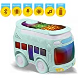 Kiddale RC Electric Mini Bus Toy with Bluetooth, Remote Control, Lights, Music, Sound and Recorder-Blue