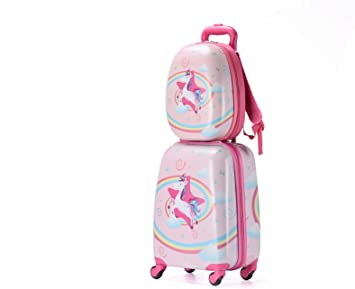 X-tag 2 Pcs Kids Luggage Set 18 Suitcase and 13 Backpack Rolling Wheels