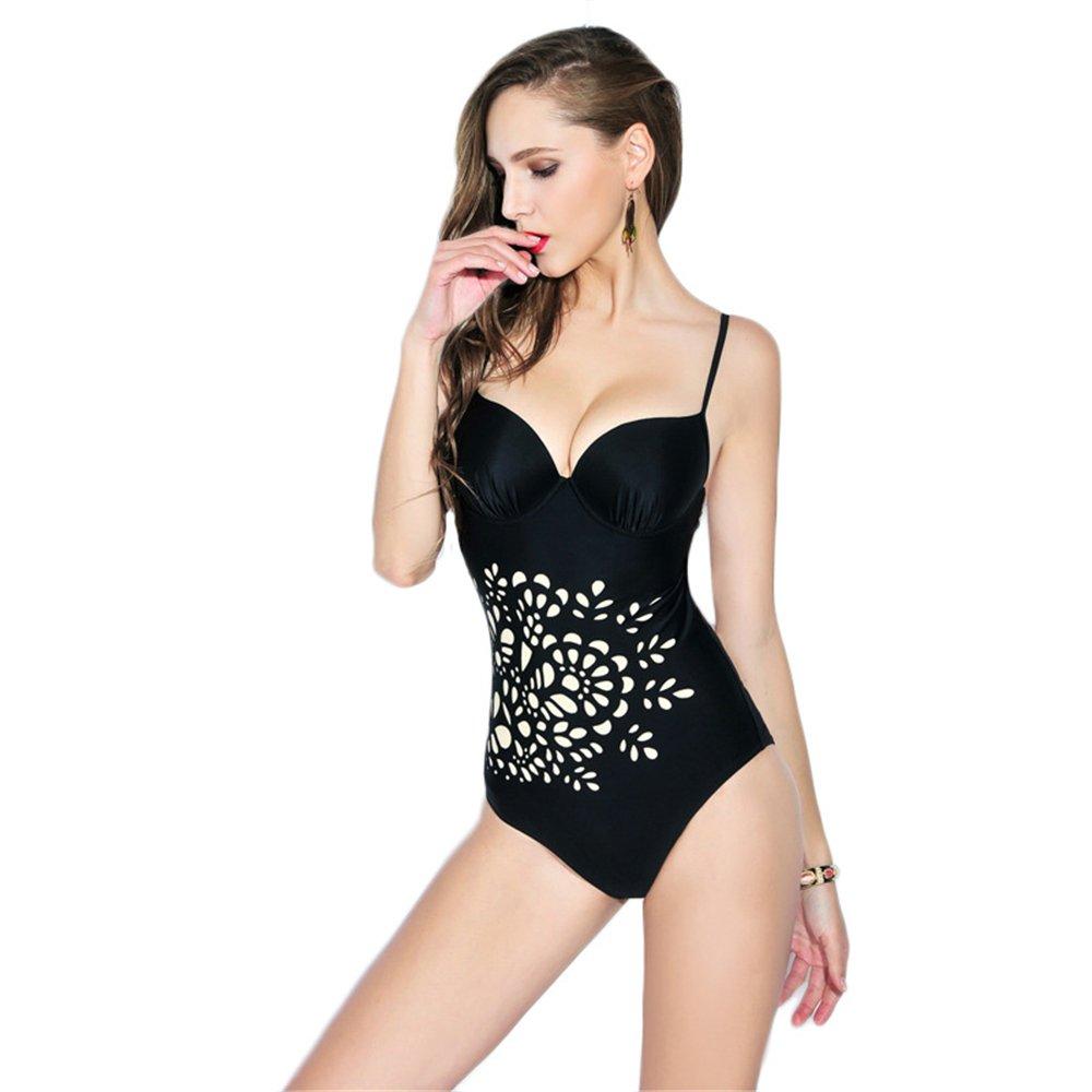 Dabag-Mujer Tallas Grandes Triangle Bikini Sling Impresión Negro Bañador De Deportes Una Pieza: Amazon.es: Ropa y accesorios